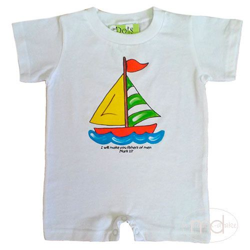 Dots of Faith Sailboat Mark 1:17 Bible Verse Romper from Madison-Drake Children's Boutique