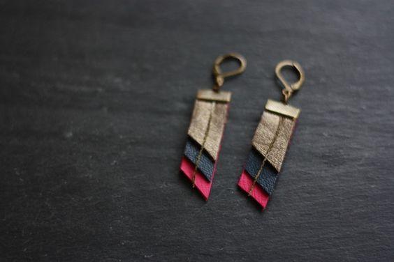 Boucles d'oreilles en cuir et laiton (rose,  bleu canard et mordoré)