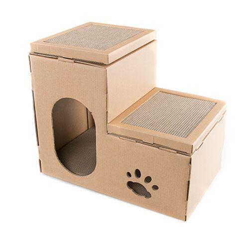 Rascador Para Gatos 2 En 1 Tk Pet Cat Home In 2020 Cardboard Cat House Cat Furniture Diy Cat House Diy