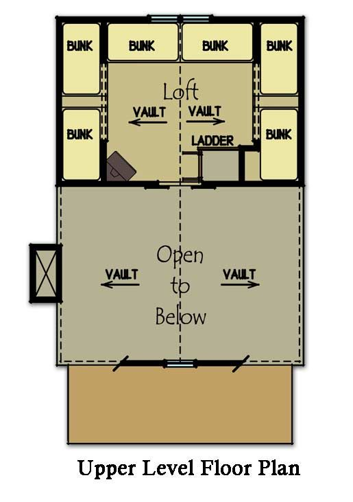 Small Cabin Plan with loft | Bunk rooms, Cabin floor plans and Cabin