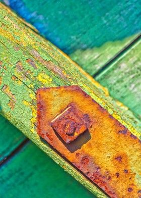 abstract green rotten bolt rusty rust wood peeling decay decayed weathered