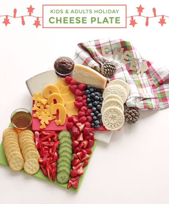 This easy guide by Glitter and Bubbles will help you create the ultimate Holiday Kids & Adults cheese plate. #CheesePlate #KidsRecipe #HolidayRecipes