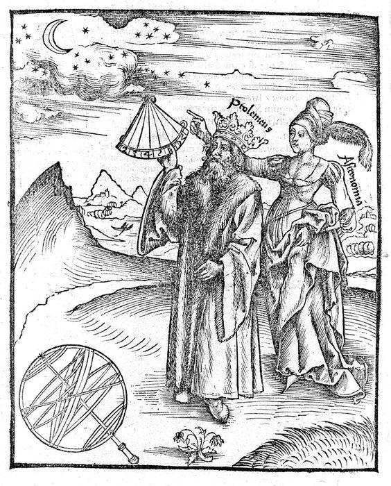 Ptolomeo y Astronomía (1503); grabado en madera de Gregor Reisch