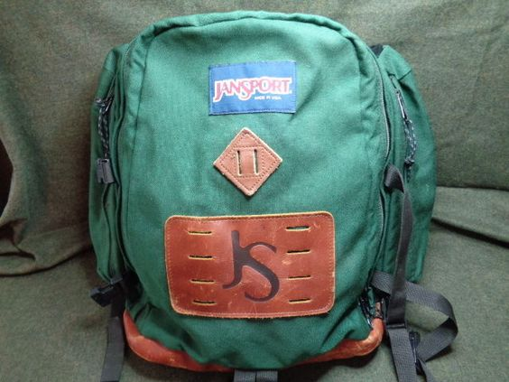 Vintage Jansport Large Patch Leather Bottom Hiking Day Ski