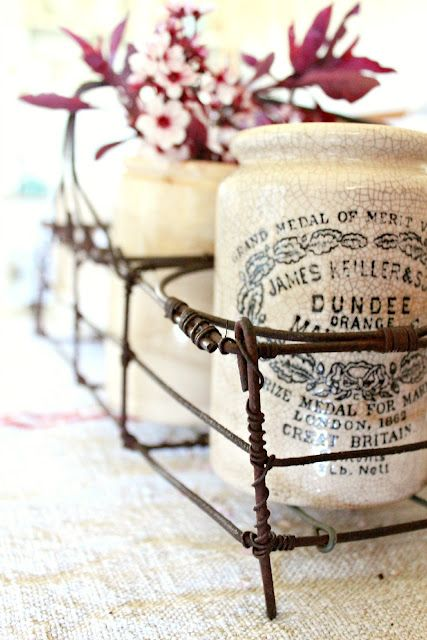 """I'm crushin' on these Vintage """"Dundee"""" marmalade jars. My great-grandma was born in Dundee, Scotland. From Wikipedia: """"The Scottish city of Dundee has a long association with marmalade. In 1797, James Keiller and his mother Janet ran a small sweet and preserves shop in the Seagate section of Dundee; they opened a factory to produce """"Dundee Marmalade, a marmalade containing thick chunks of Seville orange rind, a business that eventually prospered."""""""