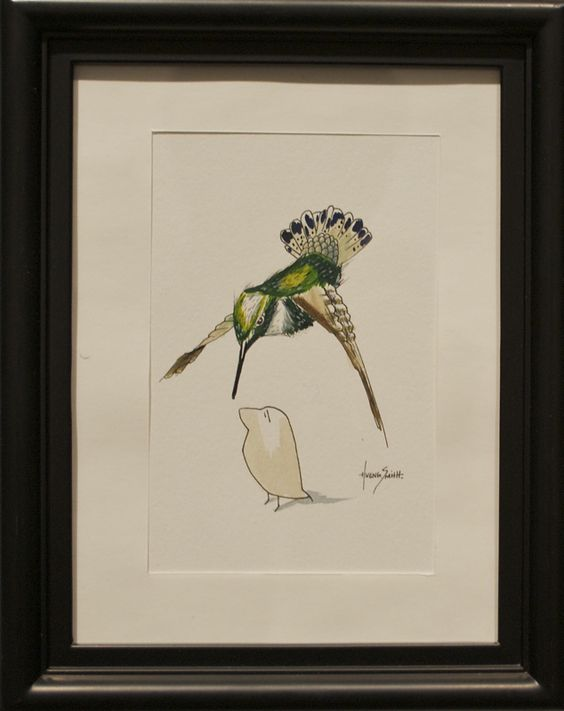 """H. Veng Smith, Curiosity, 2012, Water Color on Paper, 9""""x7"""".....SOLD"""