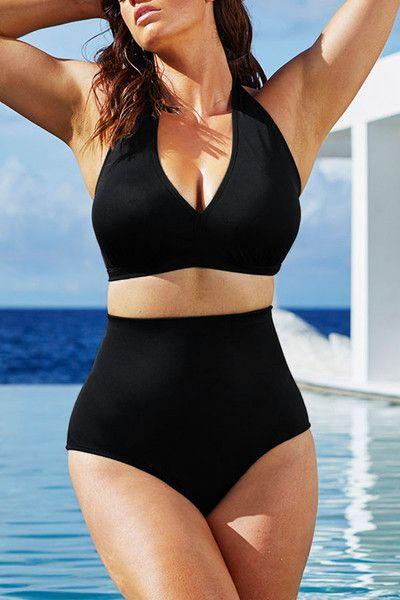 Big'n'Bold Solid Black High-Waisted Halter Bikini Swimsuit