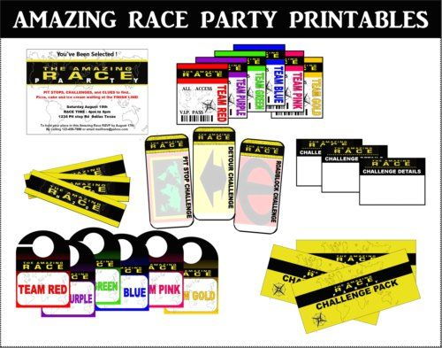 This would be fun for a birthday party coming up!! Amazing Race Party Ideas for Pit stops, challenges, clues, and supplies.