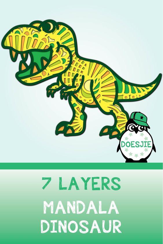 Dino 3d Svg Multi Layer Mandala Dinosaur T Rex 735027 Cut Files