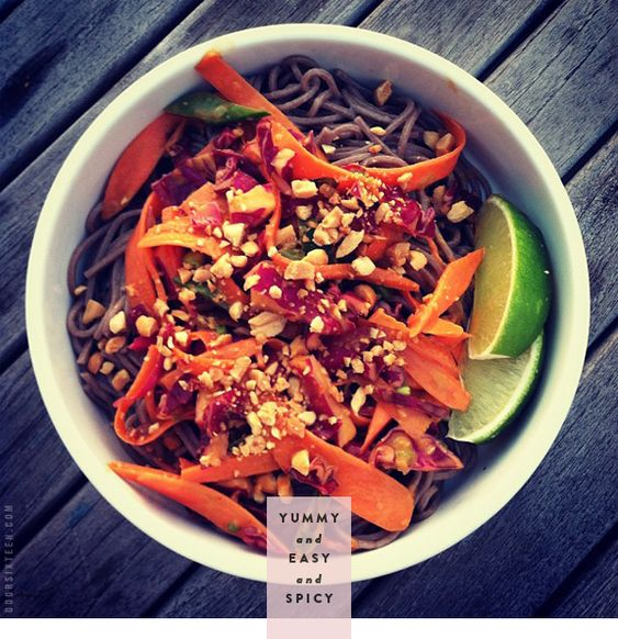 SOBA NOODLES AND VEGGIES WITH SPICY PEANUT SAUCE.