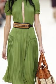 Burberry pleated dress with belt .