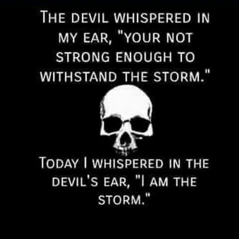 "The devil whispered in my ear, ""you're not strong enough to withstand the storm."" Today I whispered in the devils ear, ""I am the storm."""