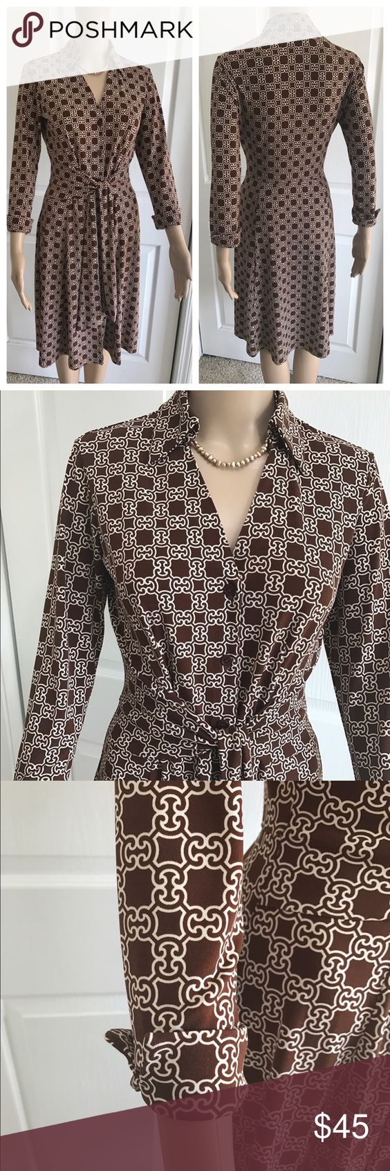 Donna Morgan Faux Wrap Dress Beautiful Career Dress. Brown and white design with tie waist. Bought at Nordstrom and only wore once. Super fun piece. Necklace not included. Donna Morgan Dresses Long Sleeve