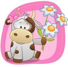 vache au bouquet de fleurs