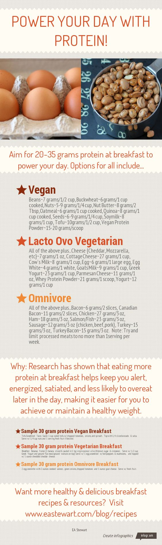 Power Your Day with Protein! High Protein Breakfast Foods for Vegans, Vegetarians, & Omnivores! #infographic