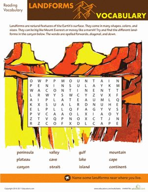 Find the Hidden Landform Vocabulary | Worksheets, Vocabulary and ...