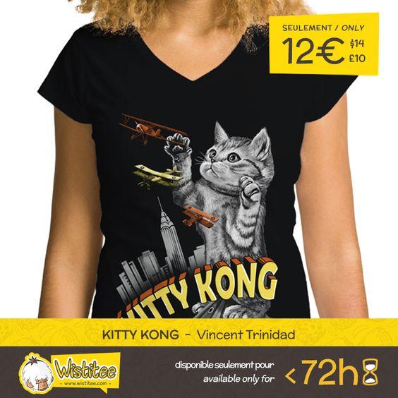 """(EN) """"Kitty Kong"""" designed by the fabulous Vincent Trinidad is our NEW T-SHIRT. Available 72 hours, order yours today for only 12€/$14/£10 on WWW.WISTITEE.COM     (FR) """"Kitty Kong"""" créé par le fabuleux Vincent Trinidad est notre NOUVEAU T-SHIRT. Disponible 72 heures, réservez-le dès maintenant pour seulement 12€ sur WWW.WISTITEE.COM     #KingKong #chat #chaton #monstre #gorille #cat #kitten #monster #gorilla #mignon #cute #film #movie #filmretro #retromovie #VincentTrinidad  #wistitee…"""