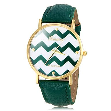 Vague Motif de la femme d'or Case PU bande de montre bracelet à quartz (couleurs assorties) – EUR € 6.11