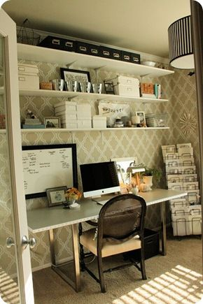 White & khaki office - would work well as a craft room, too.