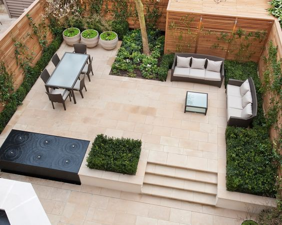 Contemporary garden living dining area - The Vale Garden in London by Randle Siddeley Landscape Architecture & Design