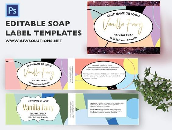 Lavender Label ID08 Cosmetic labels and Product labels - product label template