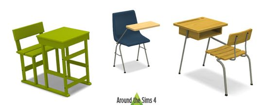 Sims 4 CC's - The Best: Desks with Chairs by Around the Sims 4