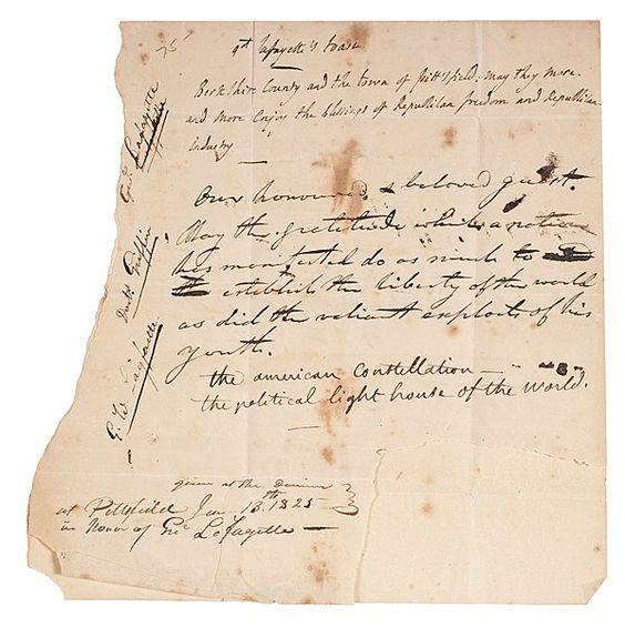 Marquis de Lafayette Autograph Toast Signed.