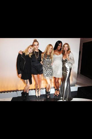 Suki Waterhouse, Cara Delevingne, Sienna Miller, Naomi Campbell, and Kate Moss.