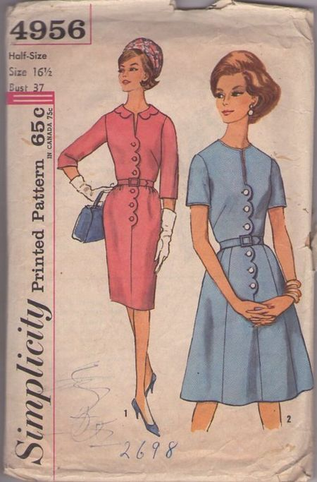 Simplicity 4956, ca 1963. Scalloped edge button placket step-in dress.