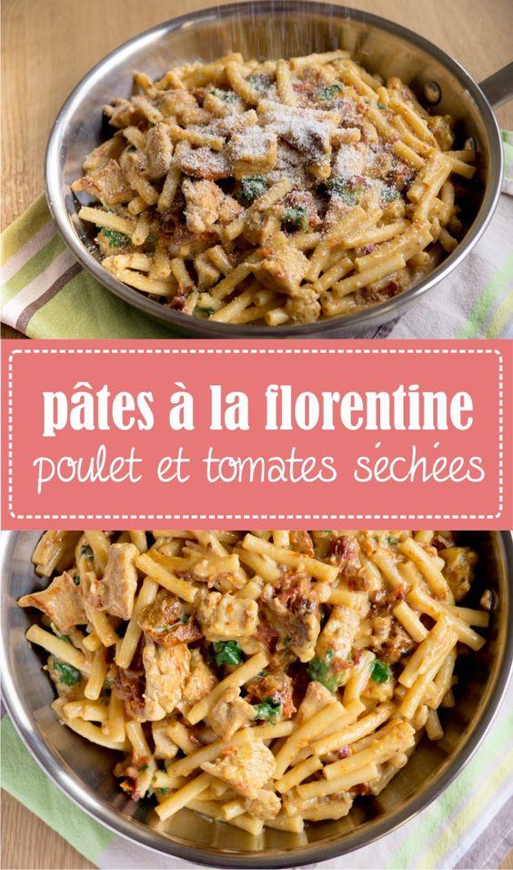 Pâtes à la florentin au poulet et tomates séchées recette sur la Godiche www.lagodiche.fr