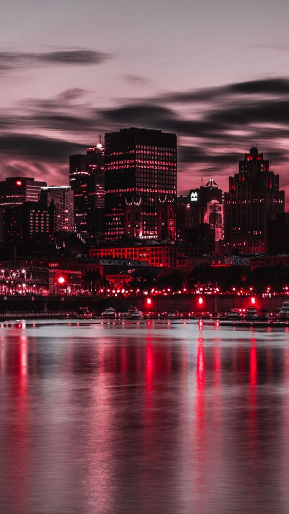 Red city lights reflecting in water, things that are red
