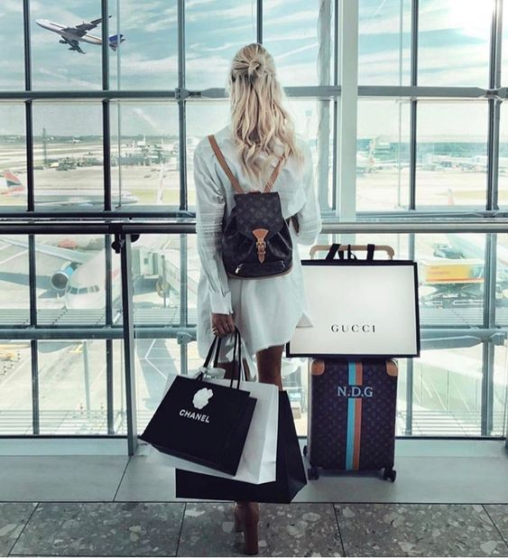 Chanel Gucci lux lifestyle luxury girl bags luggage airplane
