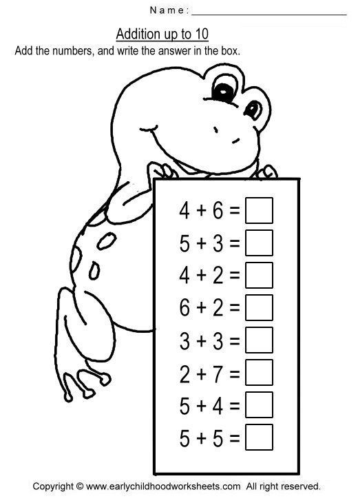 Addition To 10 Worksheets Kindergarten Math Worksheets Addition Kids Math Worksheets Math Addition Worksheets Adding up to free worksheets