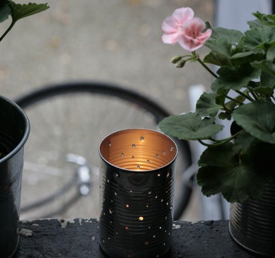 DIY tin can lantern.