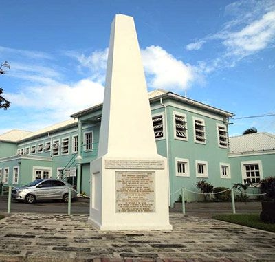 The Holetown Monument memorializes the initial English landing in Barbados by Captain John Powell in 1625.