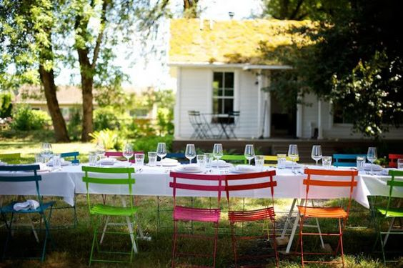 multi coloured chairs - fab idea!