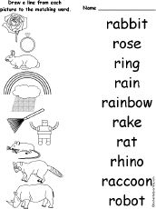 Printables Vocabulary Words For Kindergarten With Pictures kindergarten p vocabulary words match r trace and learn to write that start