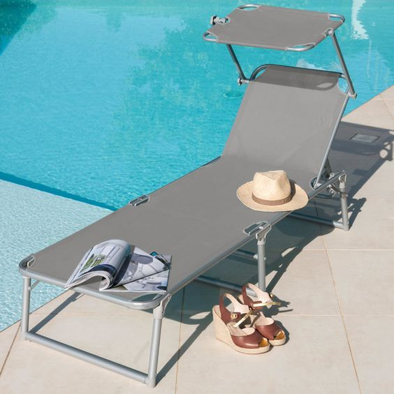 Sonnenliege Ksar Mit Dach Alu Textilen Hellgrau Sonnenliegen Gartenmobel Gartenidee Deco Sonnenliege Hangesessel Aluminium