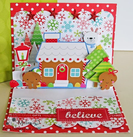 Pop up card featuring #Doodlebug Santa Express