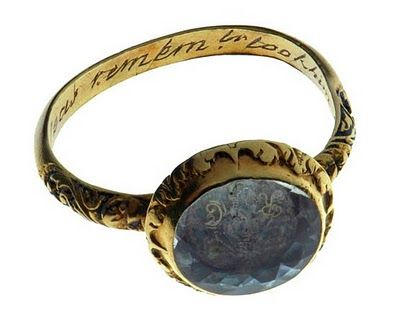 """Women's memorial ring from 1592 made out of gold and rock crystal. The inscription on the inside reads ... """"The cruel seas, remember, took him in November."""""""