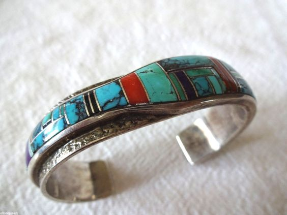 Signed Vintage Navajo BOYD & BECENTI Sterling Silver Channel Inlay Cuff BRACELET #AUTHENTICVINTAGENATIVEAMERICANJEWELRY