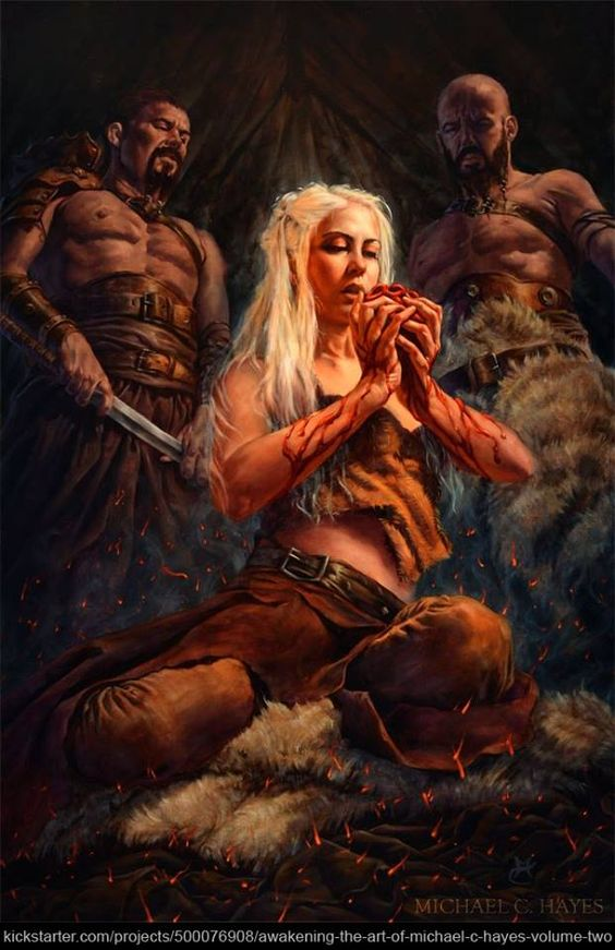 She must not flinch or look afraid. I am the blood of the dragon, she told herself as she took the stallion's heart in both hands, lifted it to her mouth, and plunged her teeth into the tough, stringy flesh.