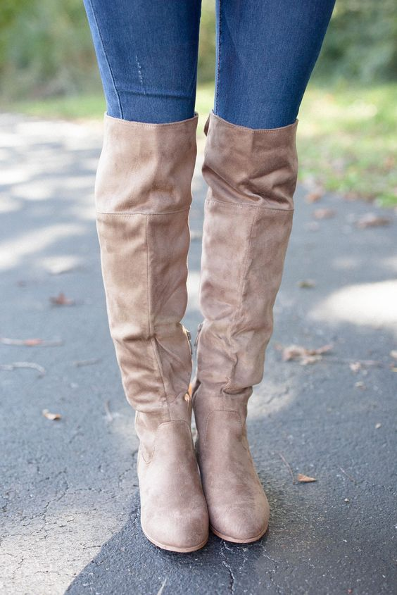 The Cory Suede Boots Taupe