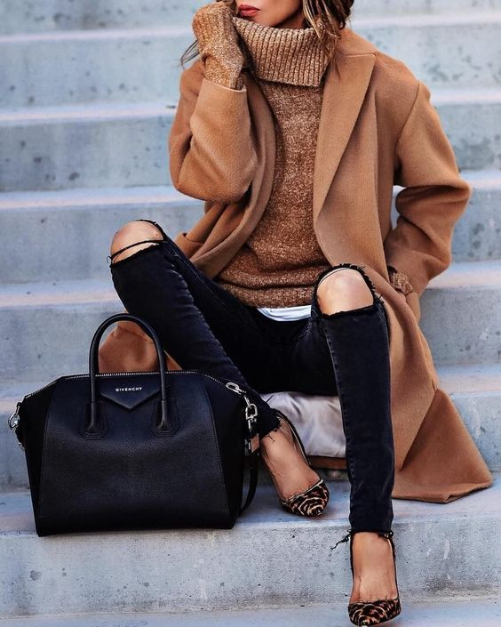Camel Coat & Turtleneck + Leather Tote Bag: