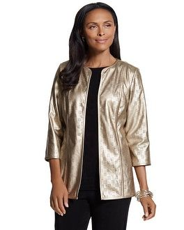 Chico's Travelers Collection Gold Perforated Jacket #chicos chicossweeps