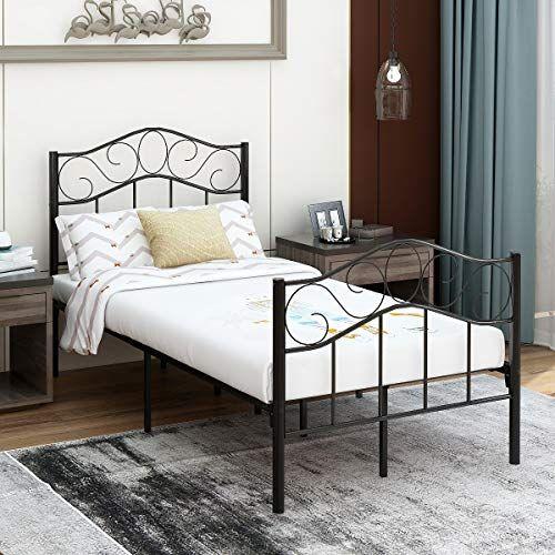 Victorian Vintage Style Platform Metal Bed Frame Foundation