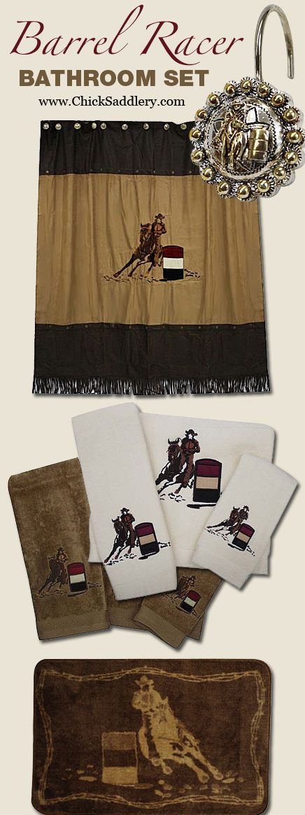 Barrel Racer Bathroom Set Shower Curtain Shower Hooks 3 Piece Towel Set Floor Mat