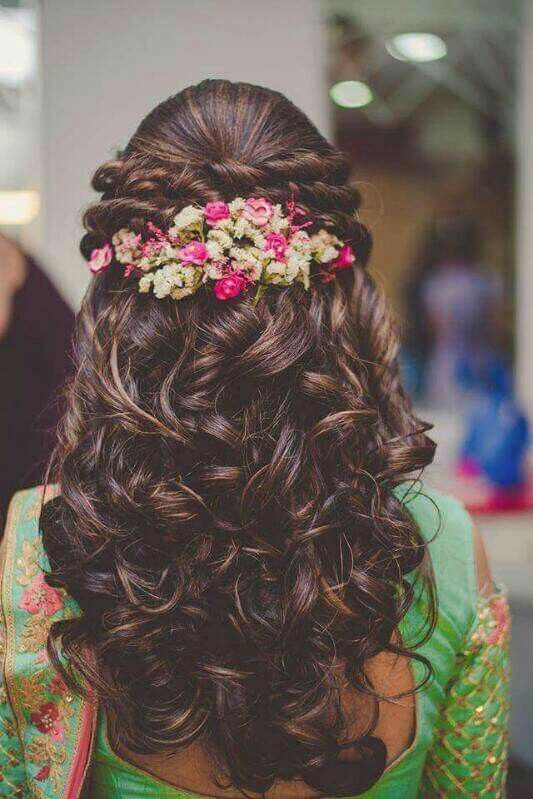 Formal Curly Long Hairstyle Looks Adorned With Flowers Adorned Curly Flowers Formal Hairstyle Hair Hair Styles Indian Bridal Hairstyles Curly Bridal Hair