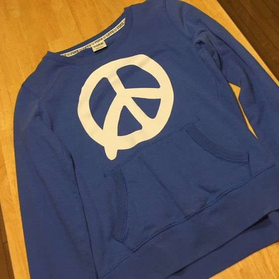 Victoria's Secret PINK, peace sign crew neck Victoria's Secret PINK, peace sign crew neck sweatshirt. Size small. Pre-loved but no damage PINK Victoria's Secret Sweaters Crew & Scoop Necks