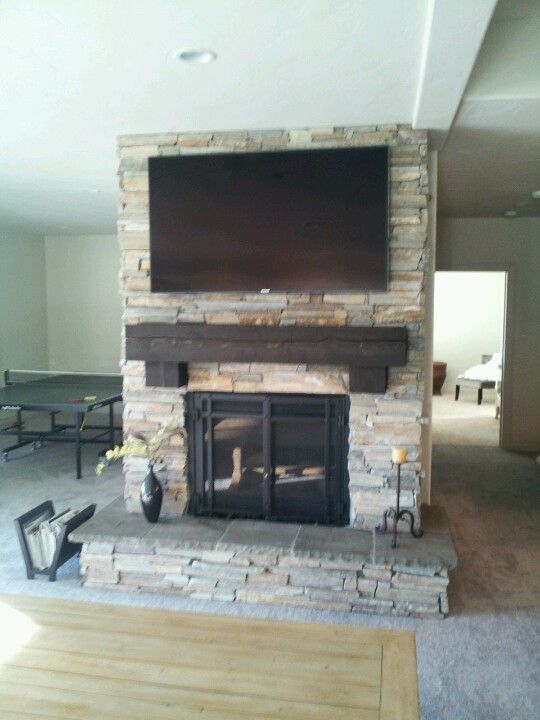 Remodeled Fireplace Air Stone The Fire Place Wall In The Living Room And Blac